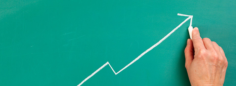 Line graph on a chalkboard.